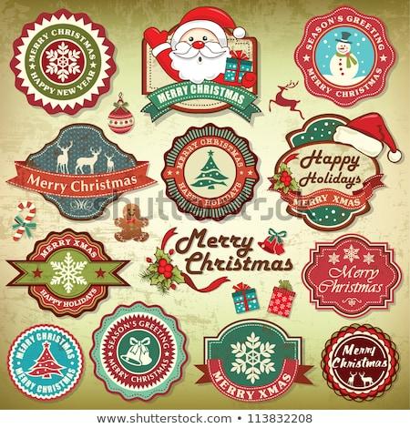 Karácsony rajz ikon gyűjtemény cukorka sétapálca harang Stock fotó © nazlisart