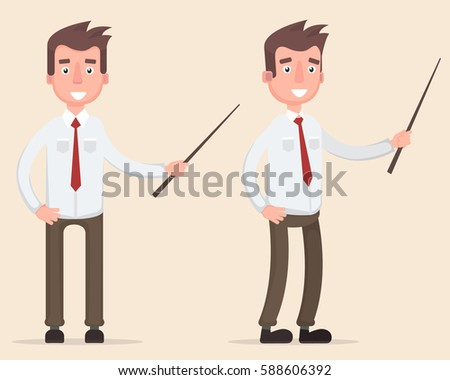 Manager Holding A Pointer Stick.Flat Style Vector Illustration  Stock photo © hittoon