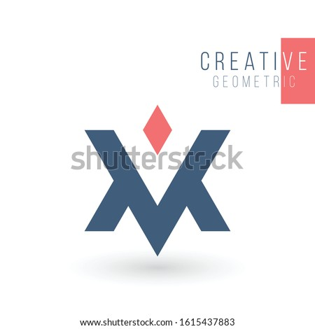 MV VM V M initial based letter icon triangle geometric logo. Technology business identity concept. C Stock photo © kyryloff