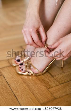 Feminino sandálias belo branco reflexão moda Foto stock © iko
