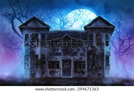 grungy halloween background with haunted house stock photo © jackybrown