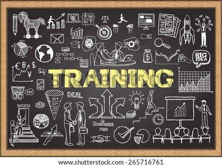 hand drawn business coaching concept on chalkboard stock photo © tashatuvango
