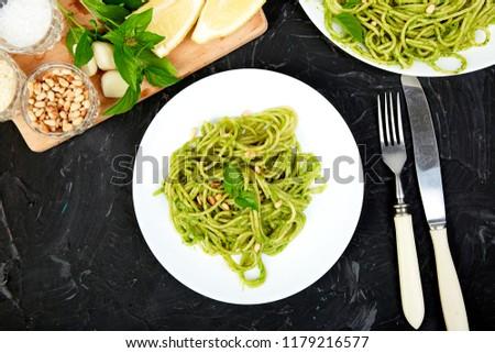 Italiaans pasta spaghetti eigengemaakt basilicum pesto Stockfoto © Illia