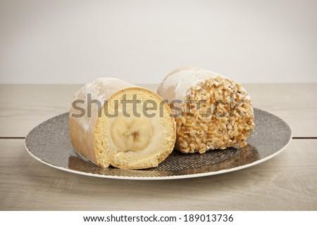 自家製 チョコレート バナナ ロール ケーキ デザート ストックフォト © Peteer