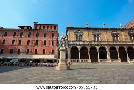 Monument of poet Dante Alighieri in the Piazza dei Signori in Ve Stock photo © boggy