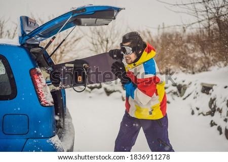 Snowboard niet geschikt auto stick Stockfoto © galitskaya