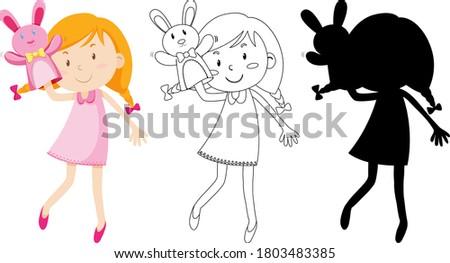 Dziewczyna gry lalek strony kolor sylwetka Zdjęcia stock © bluering