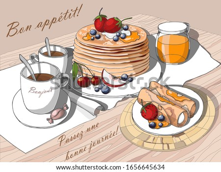 Delicious pancakes with berries and coffee Stock photo © karandaev