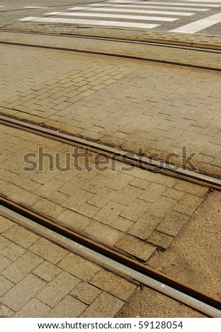 view of a rusty tramway and road with zebra path Stock photo © Melvin07
