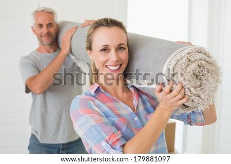 couple · roulé · tapis · heureux - photo stock © photography33