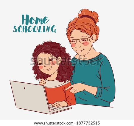 Mother and daughter using a  laptop Stock photo © photography33