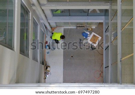 Tile fitters at work Stock photo © photography33