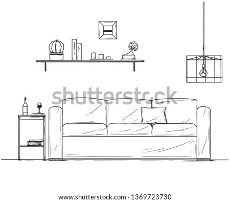 Sketch of the interior. A table, a bedside table, a shelf with various interior items. Can be used a Stock photo © Arkadivna