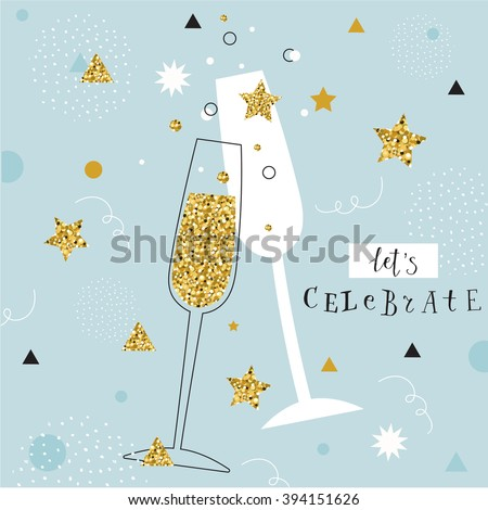 Celebrate Holiday Champagne Drink Banner Vector Stock photo © pikepicture