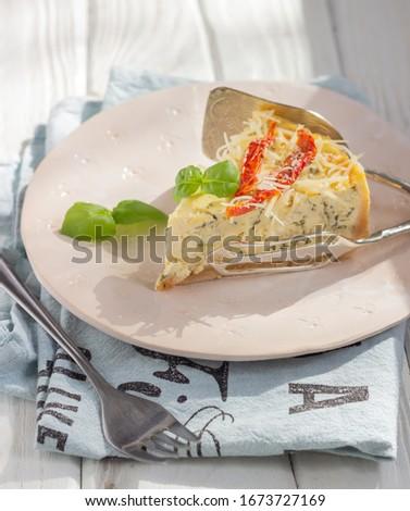 tomato cheese and basil tart stock photo © m-studio