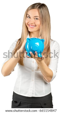 portrait of a young woman with money box Stock photo © photography33
