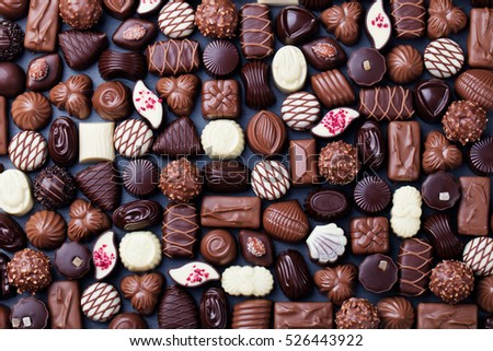 collection of different sweet chocolate pralines Stock photo © juniart