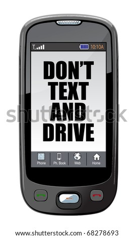Dont Text And Drive Cell Message Isolated Over White Photo stock © alexmillos