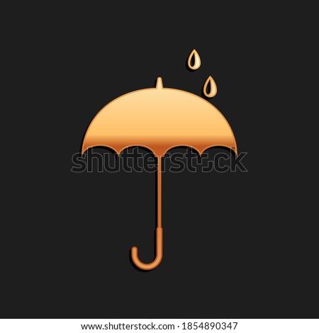 Esernyő arany vektor ikon terv arany Stock fotó © rizwanali3d