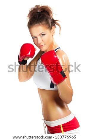 Genç güzel bir kadın uygunluk boks büyük seksi Stok fotoğraf © stryjek