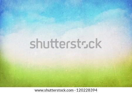 grunge · kép · zöld · mező · kék · ég · citromsárga - stock fotó © rufous