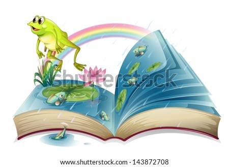 Fish in the pond open book Stock photo © colematt