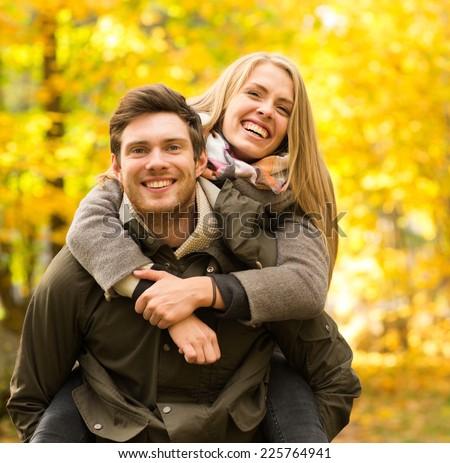 Adolescente casal outono parque bom família Foto stock © Lopolo