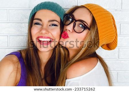 happy teenage girl making face and having fun Stock photo © dolgachov