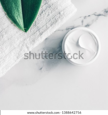 Make-up and cosmetics products on marble, flatlay background Stock photo © Anneleven