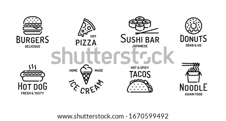 Logo fánkok hotdog szimbólum vektor címke Stock fotó © robuart