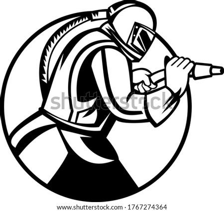 Sandblaster Abrasive Blasting Side View Circle Mascot Black and White Stock photo © patrimonio