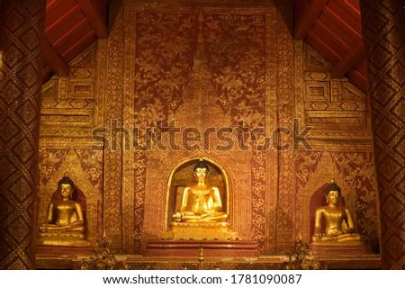 'Phra Sihing Buddha' Thai statues in church Stock photo © nuttakit
