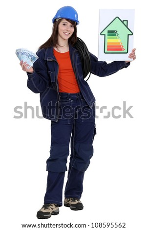 Woman stood with energy rating poster Stock photo © photography33