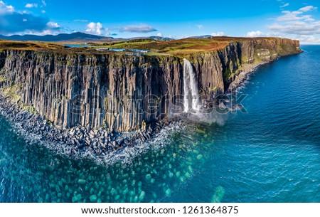Sahil kuzey İskoçya manzara yeşil mavi gökyüzü Stok fotoğraf © trgowanlock