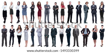 Full-length portrait of a confident businessman isolated on a white background Stock photo © deandrobot