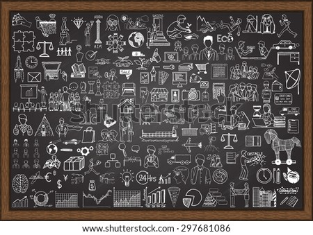project plan on chalkboard with doodle icons stock photo © tashatuvango