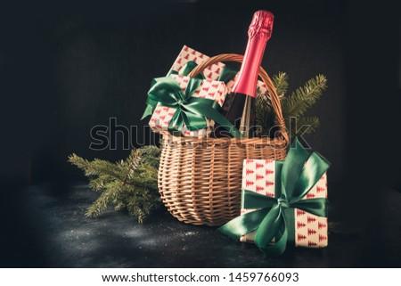geschenkdoos · champagne · papier · bruiloft · steeg - stockfoto © karandaev