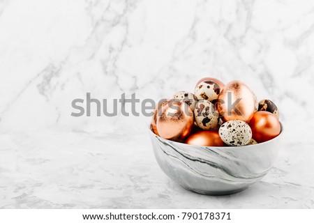quail eggs on grey background stock photo © furmanphoto