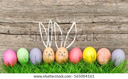 colore · easter · eggs · basket · erba · verde · Pasqua · primavera - foto d'archivio © grafvision