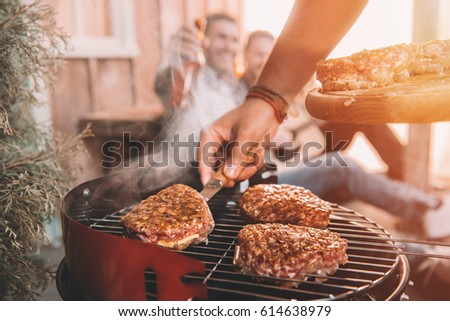Főzés hús barbecue sekély tűz kövér Stock fotó © fanfo