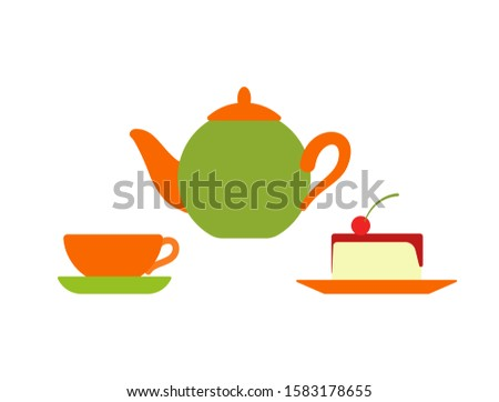 Teapot with Mug and Plate, Served Cake with Cherry Foto stock © robuart
