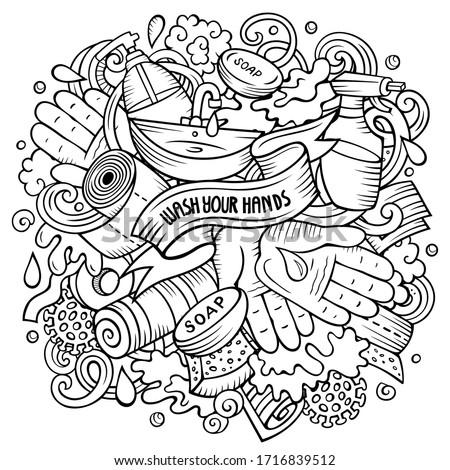 Cartoon vector doodles Wash Your Hands illustration. Sketchy picture Stock photo © balabolka