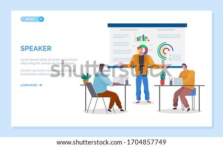 Educator Analyzing Diagram Report Webpage Vector Stock photo © robuart