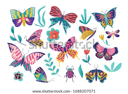 stilizált · pillangók · szett · virág · virágok · tavasz - stock fotó © krabata