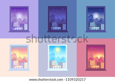 Foto stock: Cityscape · fora · janela · céu · cidade · arquitetura