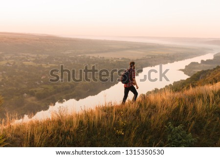 Man Admiring View On Countryside Walk Stock photo © monkey_business