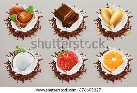 parça · süt · çikolata · beyaz - stok fotoğraf © oleksandro