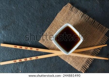 Blu bacchette piccolo salsa di soia piatto coppia Foto d'archivio © Digifoodstock