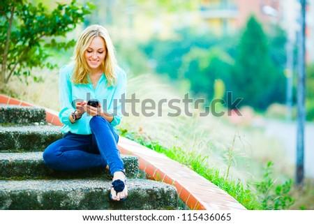 Mosolyog lány ír elmosódott digitális kompozit számítógép Stock fotó © wavebreak_media