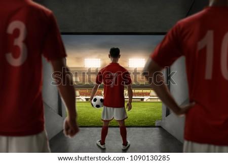 Voetballer permanente voetbal grond gras Stockfoto © wavebreak_media
